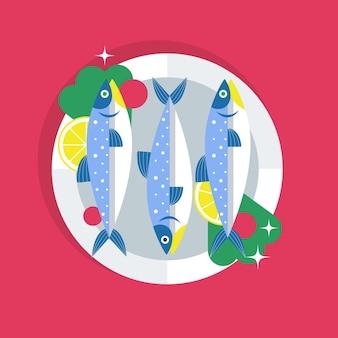 Köstliche sardinenillustration des flachen designs Kostenlosen Vektoren