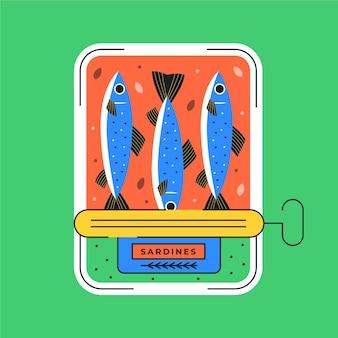 Köstliche sardinenillustration in dosen des flachen designs