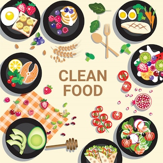 Köstliche saubere speisekarte für gesundes konzept
