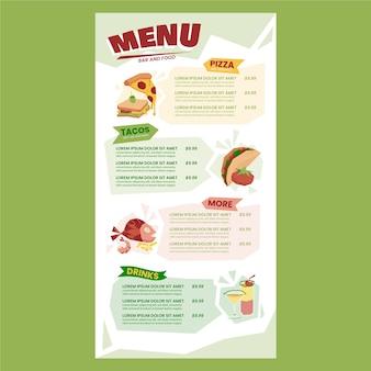 Köstliche speisekarte menüvorlage