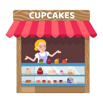 Köstliche standplatz-flache vektor-illustration der kleinen kuchen