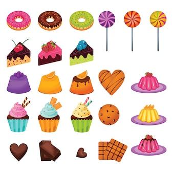 Köstliche süße snack food candy kuchen schokolade set