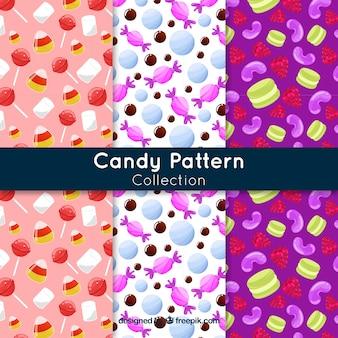 Köstliche süßigkeiten kopieren sammlung in der flachen art