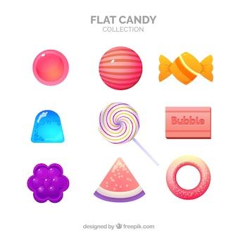 Köstliche süßigkeiten sammlung in flachen stil
