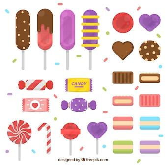 Köstliche süßigkeiten sammlung mit verschiedenen farben