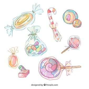 Köstliche süßigkeitensammlung in der aquarellart