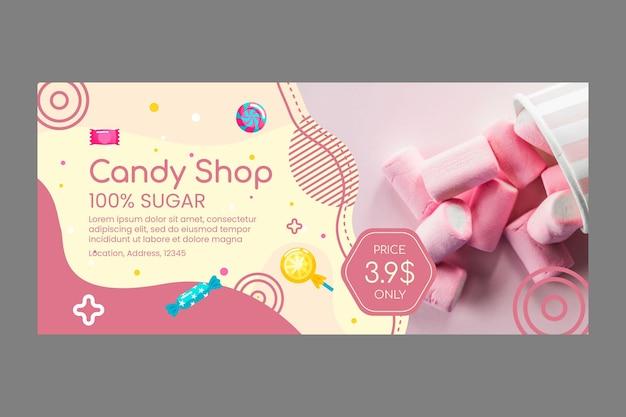 Köstliche süßwarenladen-bannerschablone