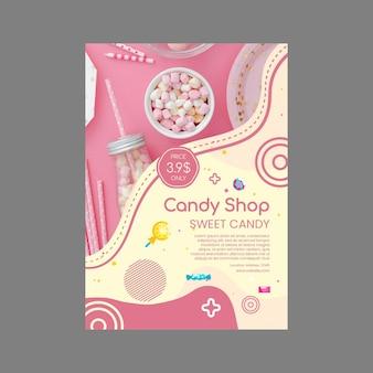 Köstliche süßwarenladenplakatschablone