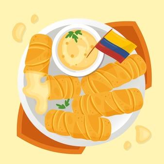 Köstliche tequeños klebt mit soßenillustration