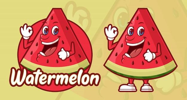 Köstliche wassermelonenkarikatur, lustiger charakter