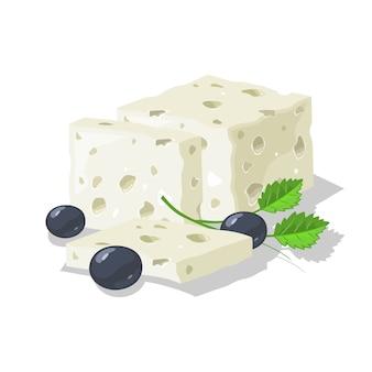 Köstlicher blauer, gesalzener oder eingelegter käse, in scheiben geschnitten, serviert mit oliven und viel grün.