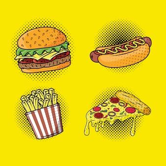 Köstlicher fastfood-pop-art-stil