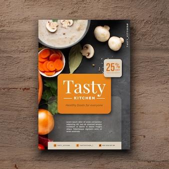 Köstlicher flyer des gesunden lebensmittelrestaurants mit foto