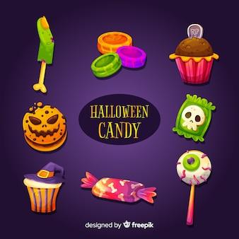 Köstlicher halloween-süßigkeitssatz