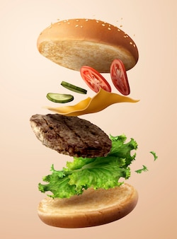 Köstlicher hamburger, der in der luft in der 3d-illustration fliegt
