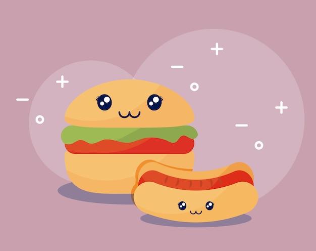 Köstlicher hamburger mit kawaii charakter des hotdogs