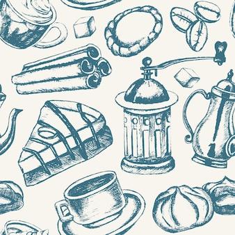 Köstlicher kaffee - gezeichnetes nahtloses muster des einfarbigen vektors hand. realistischer marshmallow, tasse, keks, mühle, teekanne, kuchen, zucker, kaffeebohnen, zimt.
