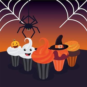 Köstlicher kleiner kuchen mit halloween-dekoration