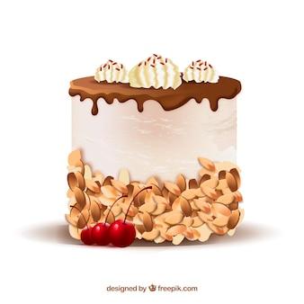 Köstlicher kuchen mit glasur in der realistischen art