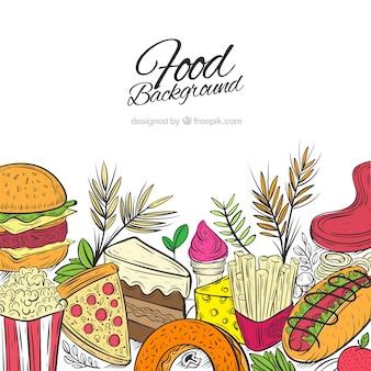 Köstlicher lebensmittelhintergrund mit hand gezeichneter art