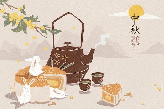 Köstlicher mondkuchen und heiße teeillustration für das mittlere herbstfest
