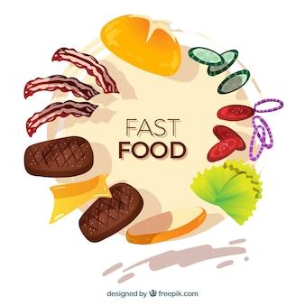Köstlicher nahrungsmittelrahmen mit flachem design