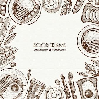 Köstlicher nahrungsmittelrahmen mit hand gezeichneter art