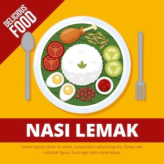 Köstlicher nasi lemak servierfertig