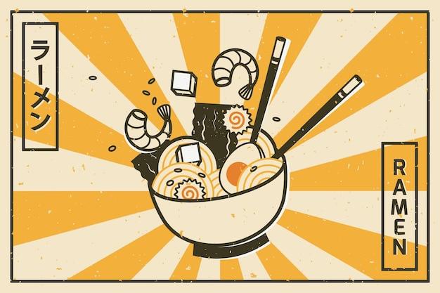 Köstlicher ramen-suppenhintergrund