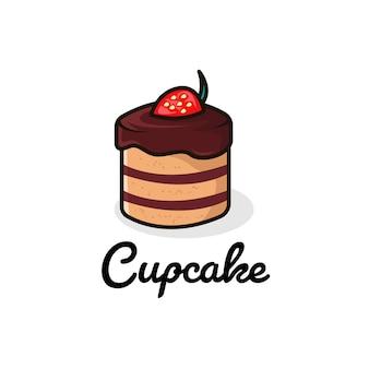 Köstlicher schokoladen-cupcake mit erdbeer-logo-illustration