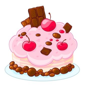 Köstlicher schwammkuchen der ikonenkarikatur mit schokolade, geleebonbons und kirschen. behandle zum geburtstag.