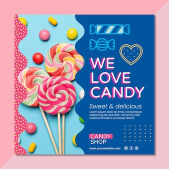 Köstlicher süßigkeitenquadratflieger