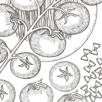 Köstlicher teigwarenitaliener mit tomaten lokalisierte ikone