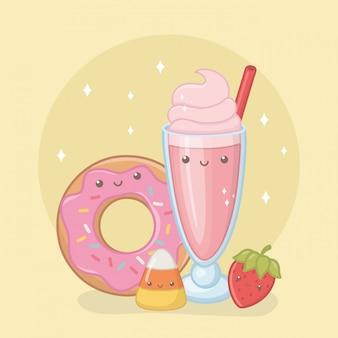 Köstlicher und süßer milchshake und kawaii charaktere der produkte