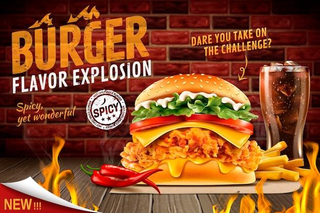 Köstlicher würziger brathähnchen-burger mit brennendem feuer und menü
