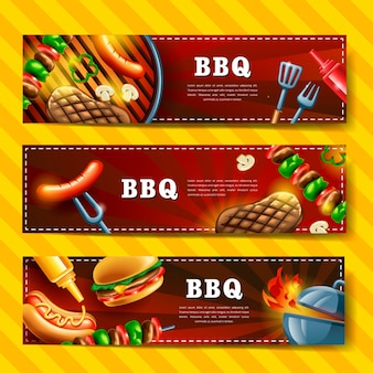 Köstliches bbq-banner-design-set mit gourmet-illustration