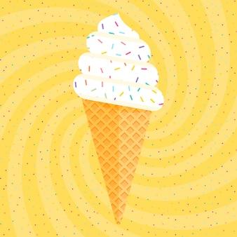 Köstliches buntes eis im waffelkegel auf gelbem strudelkonfettihintergrund. vektorillustration für webdesign oder druck