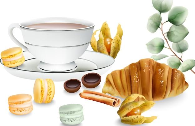 Köstliches croissant mit zimtstangen, macaron-süßigkeiten, kapstachelbeere und toffee-bonbons auf dem tisch