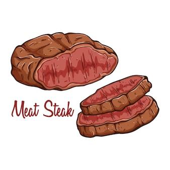Köstliches gegrilltes fleischsteak mit text und farbiger hand gezeichnet oder gekritzelkunst