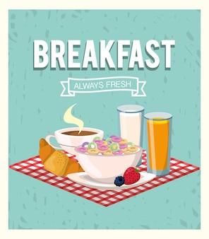 Köstliches getreide mit orangensaft- und hörnchenfrühstück