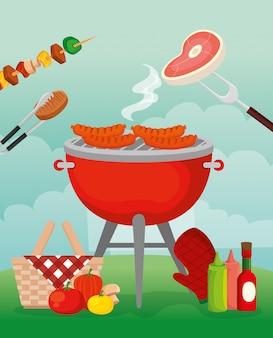 Köstliches grillmenü mit ofen und essen