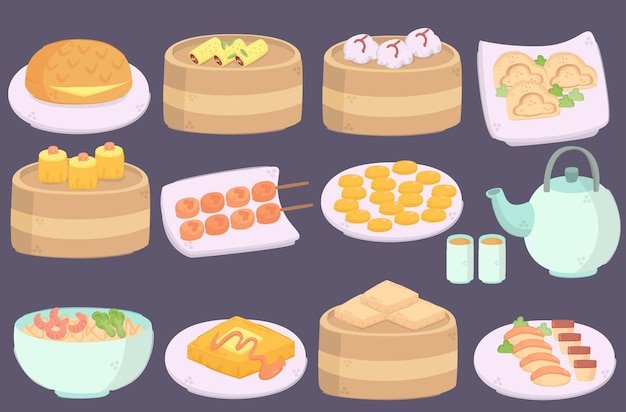 Köstliches hong kong cuisines illustration pack