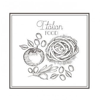 Köstliches italienisches essen in der zeichnung