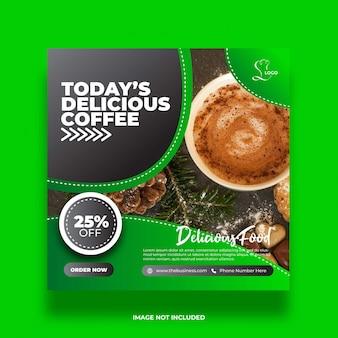 Köstliches kaffeerestaurant gesundes essen soziale medien abstrakte beitragsvorlage