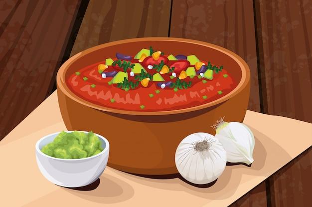 Köstliches mexikanisches essen mit suppe