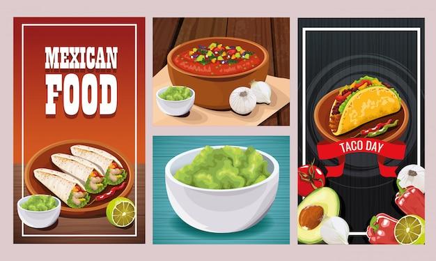 Köstliches mexikanisches essen setzt designs