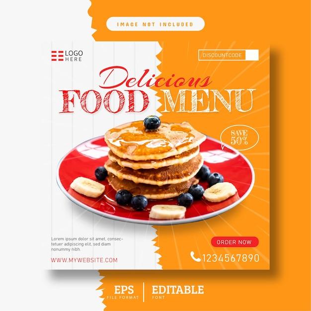 Köstliches pfannkuchenmenü-restaurant-social-media-banner