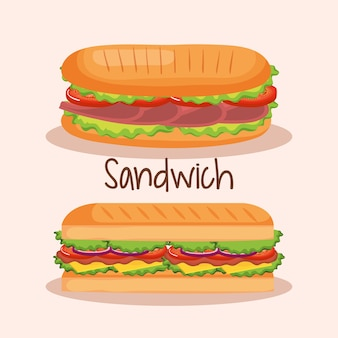 Köstliches sandwich fast-food-vektor-illustration-design