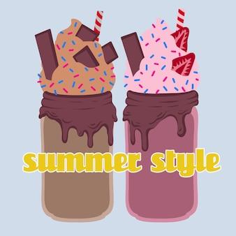 Köstliches sommercocktail mit schokolade und erdbeeren. vektor-illustration