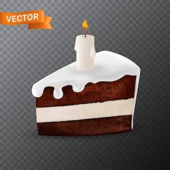 Köstliches stück schokoladenkuchen mit tropfender sahne und dekoriert mit einer brennenden weißen kerze darauf. in einem realistischen 3d-netzstil, der auf einem transparenten hintergrund isoliert wird